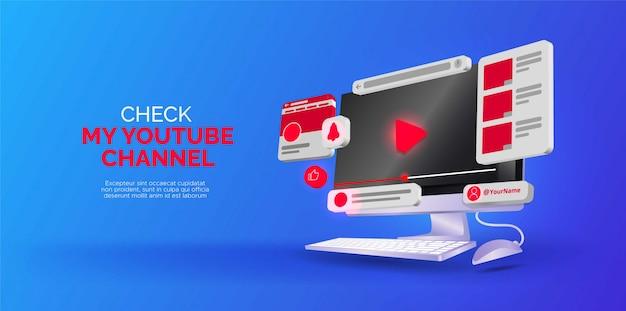 Isometrisch ontwerp over youtube-kanaal