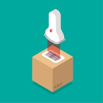 Isometrisch ontwerp van doos met streepjescodesticker erop. barcode label sticker scannen.