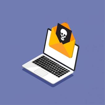 Isometrisch ontwerp van laptop en envelop met een virus. mail of computer hacken. een illegale of geïnfecteerde brief ontvangen. illustratie. geïsoleerd.