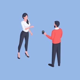 Isometrisch ontwerp van moderne man en vrouw in slimme vrijetijdskleding met koffie en chatten terwijl staande geïsoleerd op blauwe achtergrond