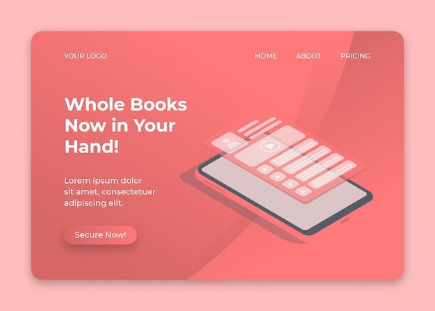 Isometrisch ontwerp van telefoon en scherm verschijnt voor online boekwebpagina