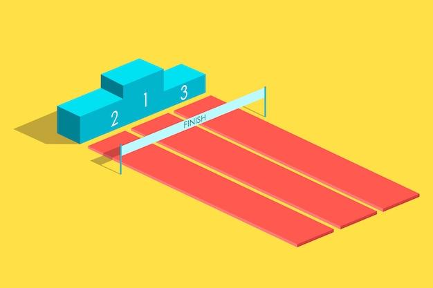 Isometrisch ontwerp voetstuk met eerste, tweede, derde plaats voor prijsuitreiking.