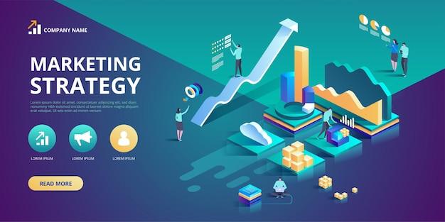 Isometrisch ontwerpconcept van marketingstrategie voor website en m