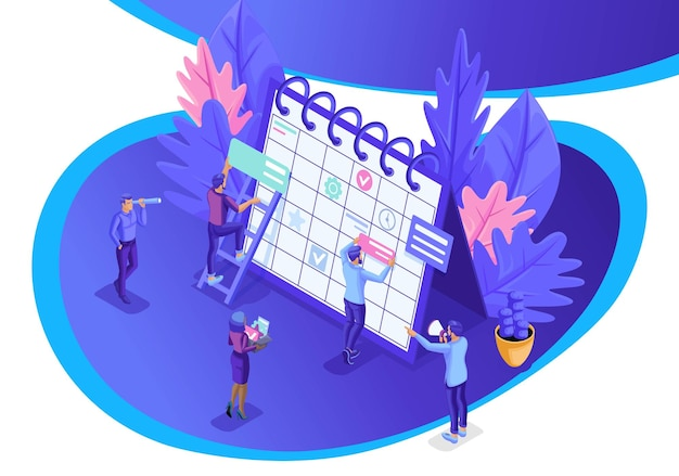 Isometrisch ontwerpconcept zakenlieden werken, planning voor een website, bedrijfsplanning, tijdbeheer. vector illustratie