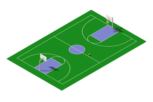 Isometrisch openlucht openbaar basketbalveld met bal