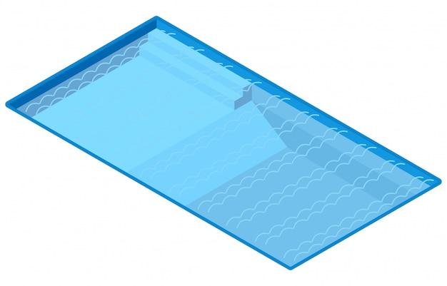 Isometrisch openlucht zwembad, illustratievector