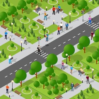 Isometrisch park met bomen