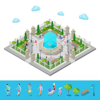 Isometrisch park. stadspark. actieve mensen buitenshuis. vector illustratie