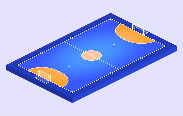 Isometrisch perspectiefzicht veld voor zaalvoetbal. oranje overzicht van lijnen futsal veld illustratie.