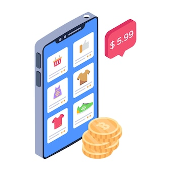 Isometrisch pictogram dat productprijzen aangeeft