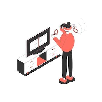Isometrisch pictogram met karakter dat een virtual reality-bril draagt en de bedieningselementen vasthoudt om een spel te spelen
