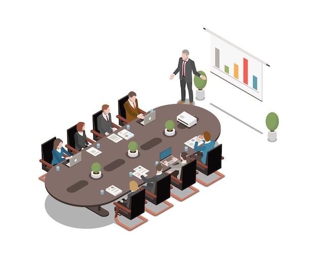 Isometrisch pictogram met man die project op wit bord presenteert tijdens zakelijke bijeenkomst