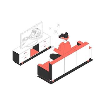 Isometrisch pictogram met vrouw die een vr-bril draagt die een spel speelt op tv