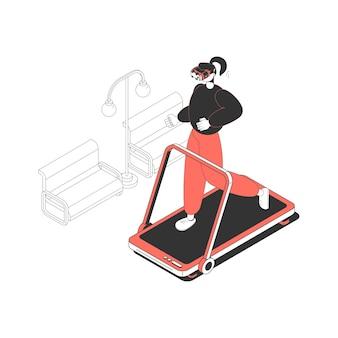 Isometrisch pictogram met vrouw in augmented reality-bril op het runnen van machine 3d