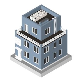Isometrisch pictogram modern huis. stedelijke woning gebouw met ramen en airconditioning.