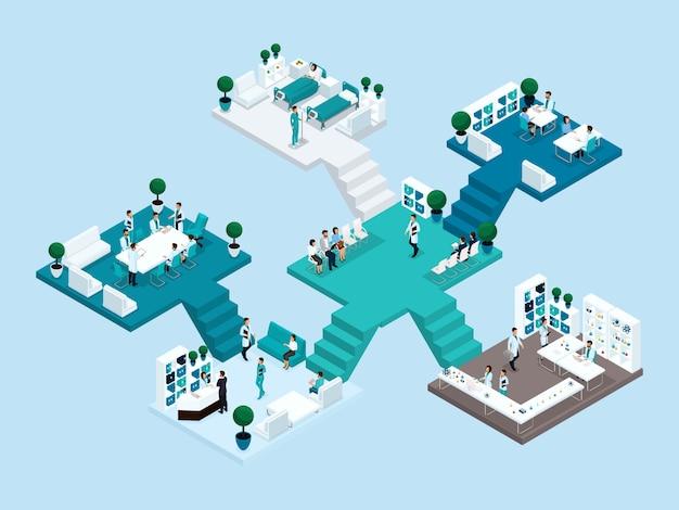 Isometrisch pictogram van veel verdiepingen ziekenhuisgebouw met trappen en kamers