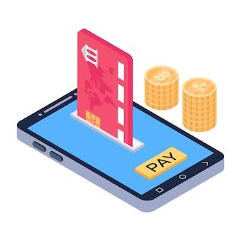 Isometrisch pictogram voor mobiele winkel downloaden met premiumaanbieding