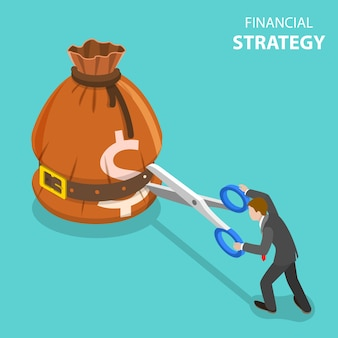Isometrisch plat concept van groeistrategie en financieel doel, investeringsbeheer.