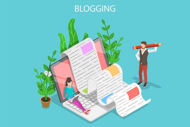 Isometrisch plat vectorconcept van creatief bloggen