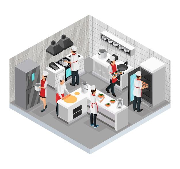 Isometrisch restaurant kookruimte concept met koks die verschillende geïsoleerde gerechten bereiden en serveren