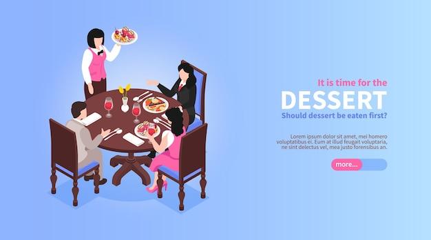 Isometrisch restaurant met menselijke karakters die illustratie eten