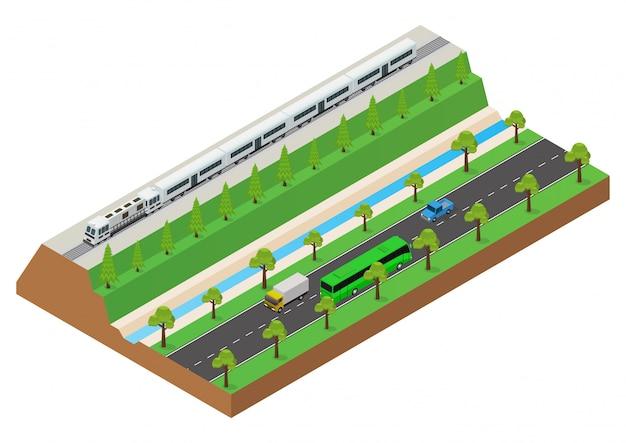 Isometrisch rijdt de reizigerstrein op de rails