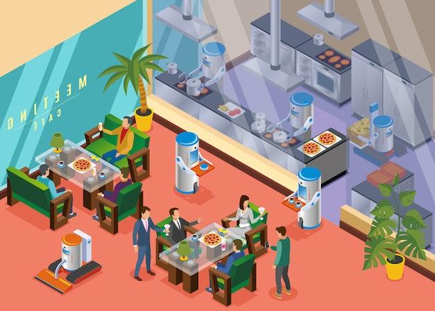 Isometrisch robotachtig restaurant