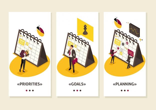 Isometrisch sjabloon app-businessplan voor de nabije toekomst voor zakenlieden, teamwerk, smartphone-apps