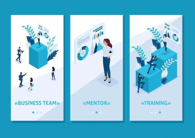 Isometrisch sjabloon app concept mentorschap en de impact ervan op zakelijk succes, smartphone apps