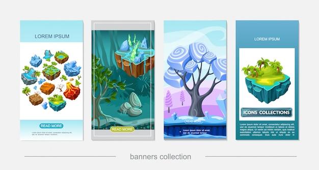 Isometrisch spel natuur ontwerp verticale banners met woestijn waterval vulkaan bos meer palmen ijsoppervlak droge boom op vliegende eilanden stenen mineralen