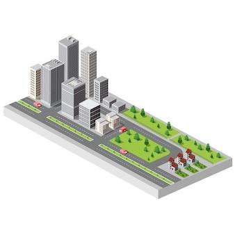 Isometrisch stadscentrum op de kaart met veel gebouwen, wolkenkrabbers, fabrieken