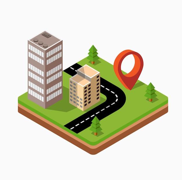 Isometrisch stadscentrum op de kaart