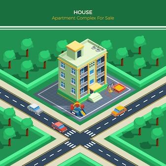 Isometrisch stadslandschap met flatgebouw