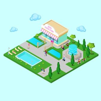 Isometrisch stadspark met fontein en zwembad. actieve mensen wandelen in het park. vector illustratie