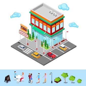 Isometrisch stadsrestaurant. fastfoodcafé met parkeerzone. vector illustratie