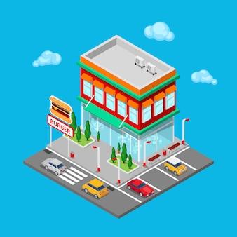 Isometrisch stadsrestaurant. fastfoodcafé met parkeerzone.