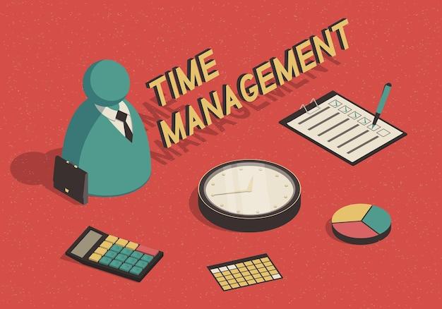 Isometrisch tijdbeheerconcept met abstracte zakenman