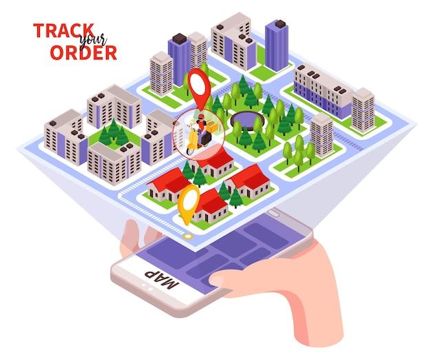 Isometrisch track- en bestelillustratie