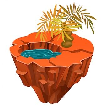 Isometrisch tropisch eiland met woestijn.