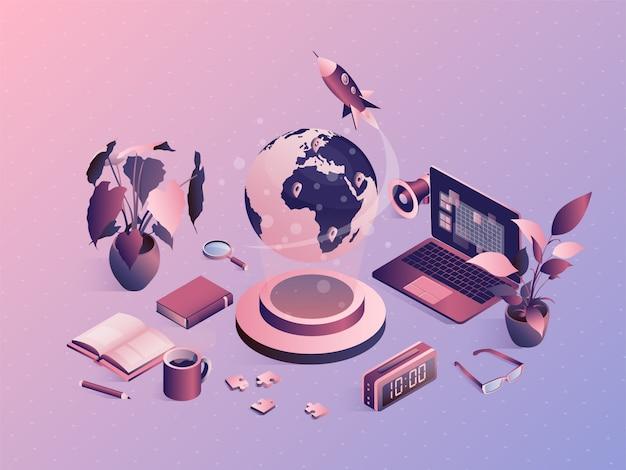 Isometrisch universitair concept met schoolelementen. online examen, onderwijs op afstand