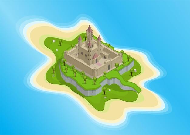 Isometrisch van eiland met middeleeuws kasteel