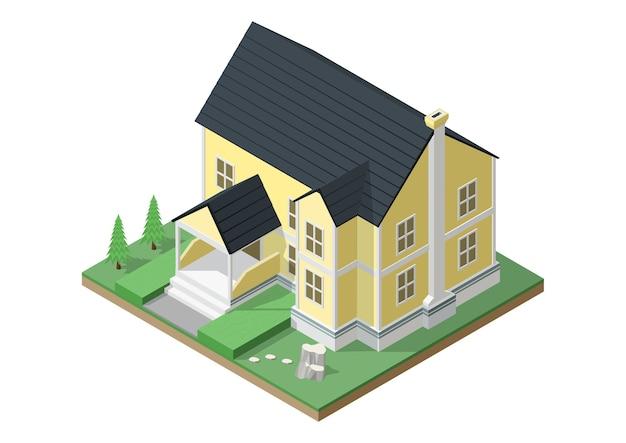 Isometrisch van huis in victoriaanse stijl.