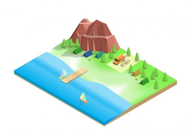 Isometrisch van kamperen op het strand