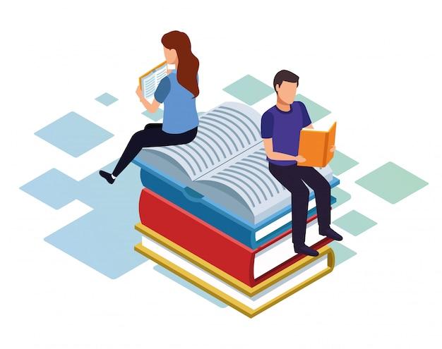 Isometrisch van man en vrouw lezen en zittend op stapel boeken op witte achtergrond