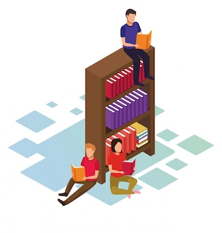 Isometrisch van mensen lezen van boeken rond boekenplank op witte achtergrond