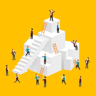 Isometrisch van op weg naar succesconcept