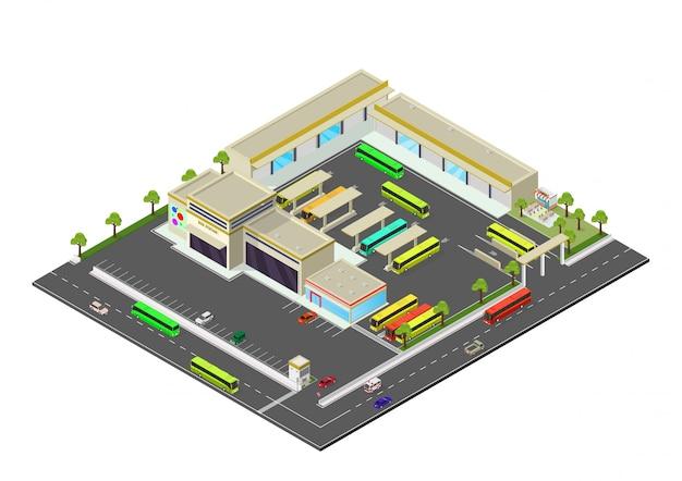 Isometrisch vertegenwoordigt busstation