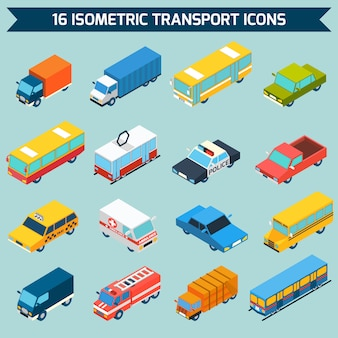 Isometrisch vervoer icons set