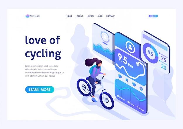 Isometrisch voor de bestemmingspagina over het onderwerp zoals fietsen, fietsen met een mobiele app.