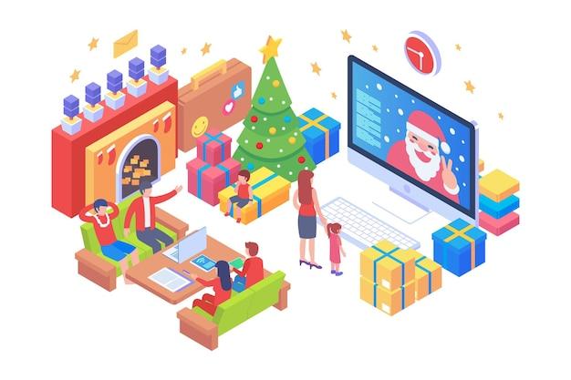 Isometrisch vrolijk kerstfeest vectorconcept